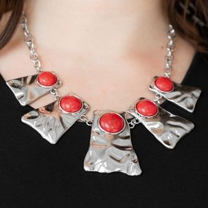 Silver Statement Necklace W/ Red Crackle Stones